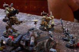 The last Drop sentinel also completes a charge into a broadside but both units fail to inflict any wounds. At the start of his third turn, Jacob falls back out of combat to be able to shoot at the sentinel again.