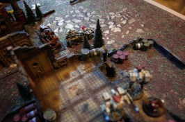 The Venator swings around to take pot shots at the Crisis team on top of the ruin