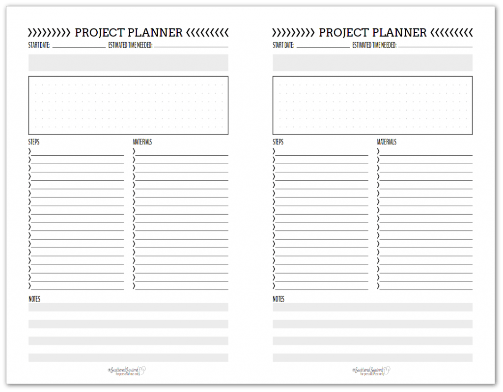 Black And White Project Planner Printables Scattered Squirrel