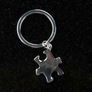 Silver Puzzle Piece Keychain