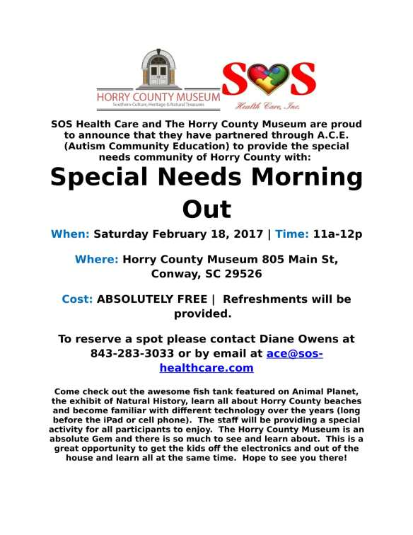 February 18 - 2017 Museum Special Needs Morning Out Flyer
