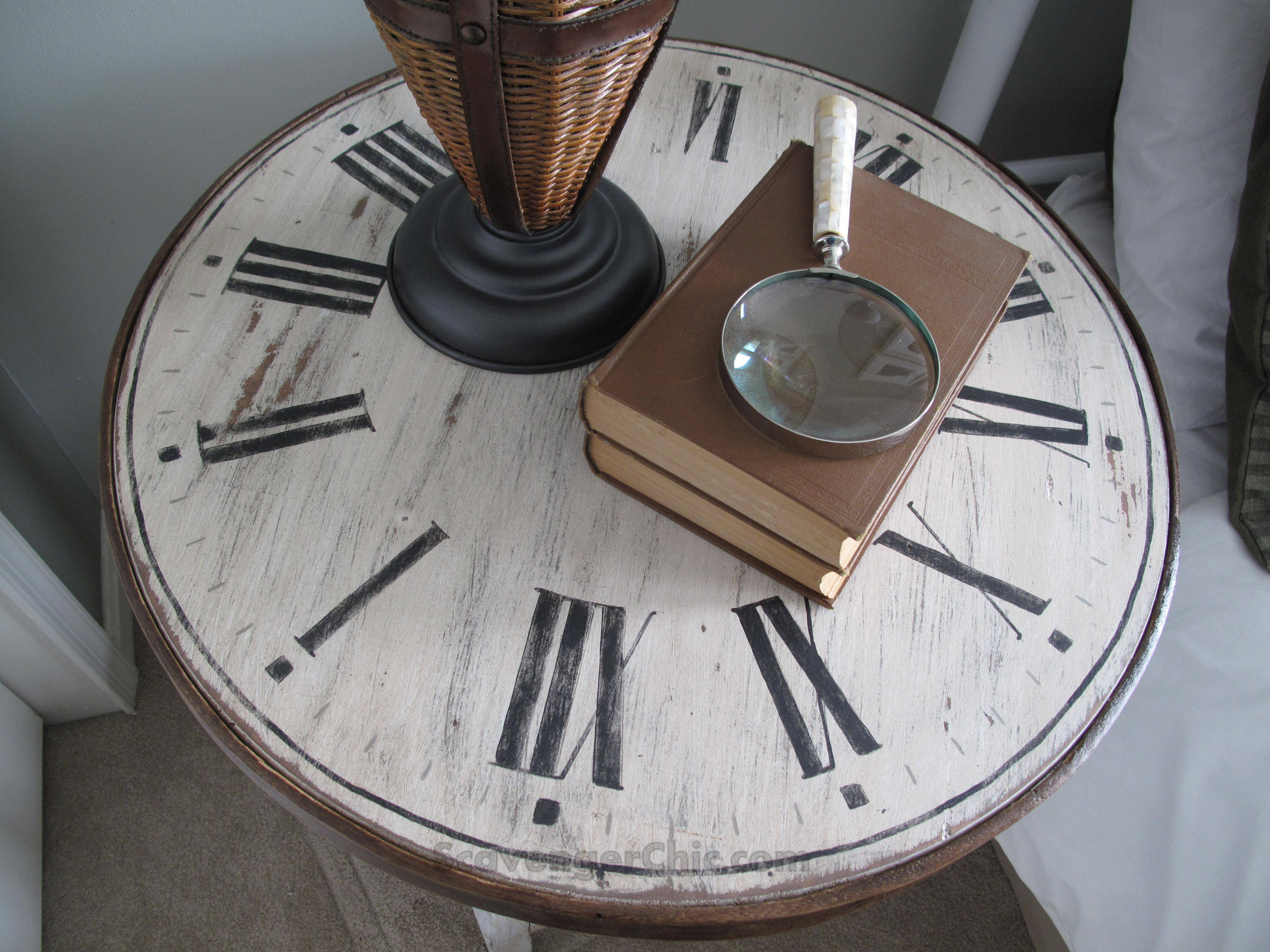 Clock Table From A Flea Market Find, Diy, Table Makeover