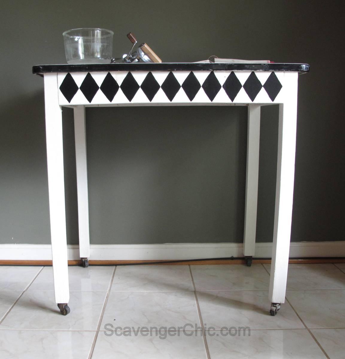 Vintage Black And White Enamel Table Scavenger Chic