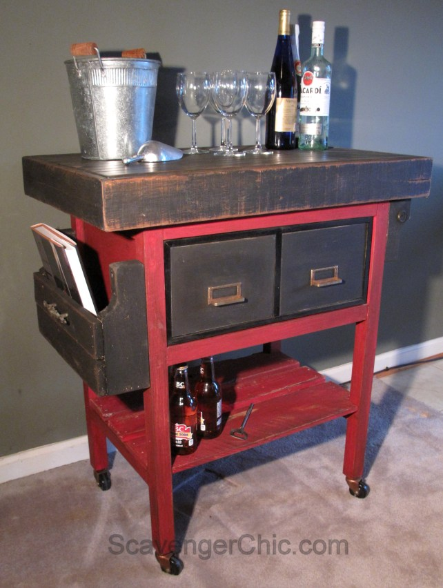 Upcycled Metal File Cabinet Bar Cart Kitchen Cart Scavenger Chic