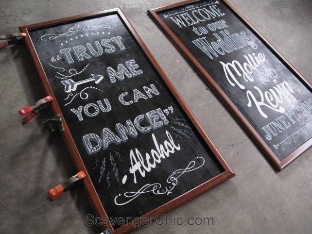 Large Chalkboard Style Wedding Signs Diy Welcome And Trust