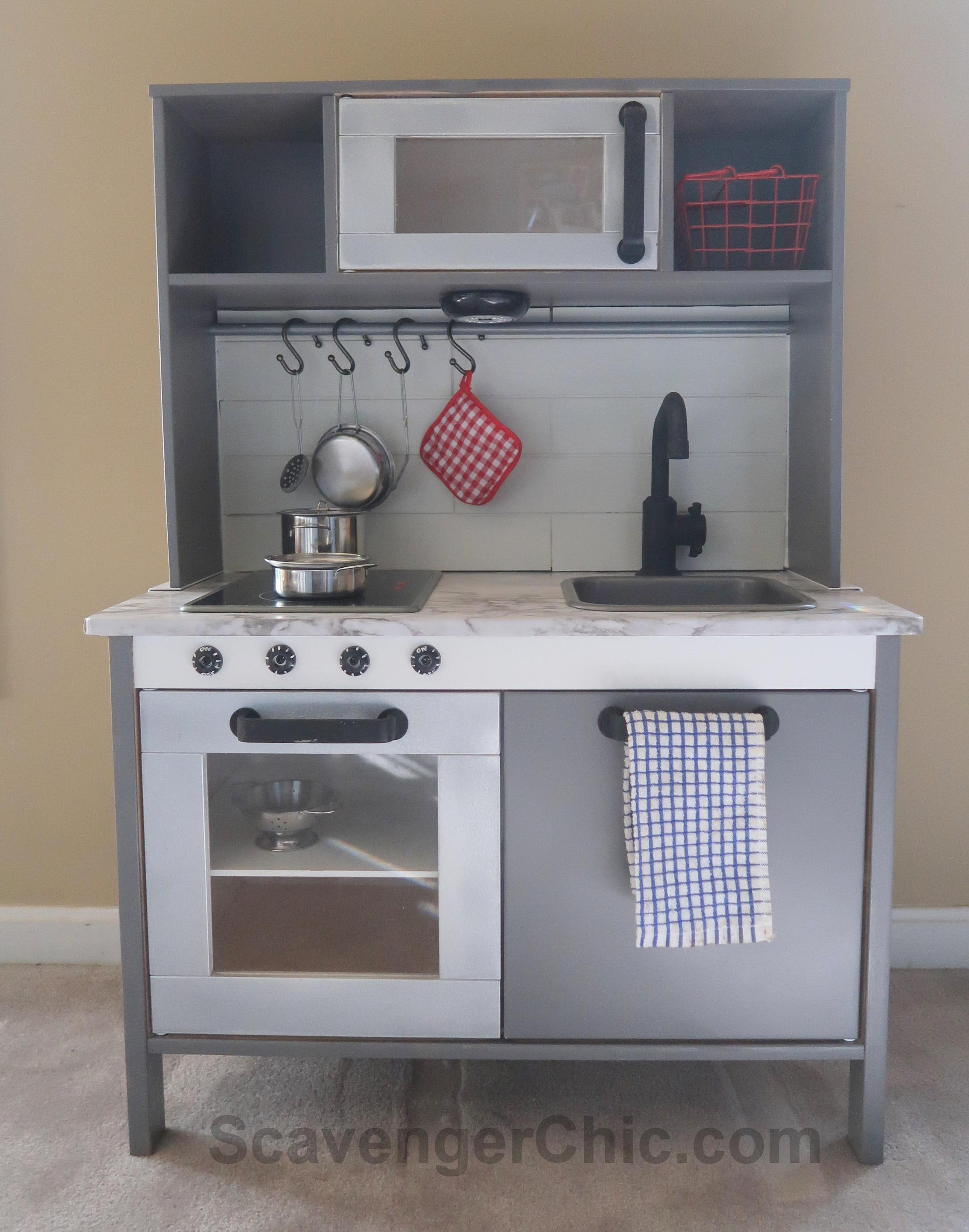 Ikea Play Kitchen Hack With A Shiplap Backsplash Scavenger Chic