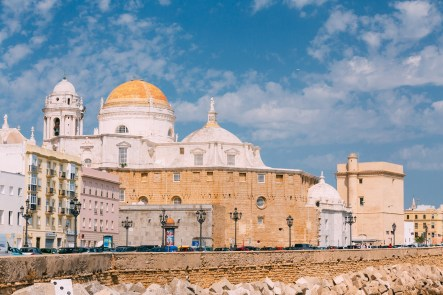 Cadiz, Spain - June 21, 2015: Ancient Cadiz city in southern Spain. Cadiz Cathedral and old town.