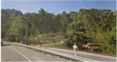 Simulation of trail from highway 1
