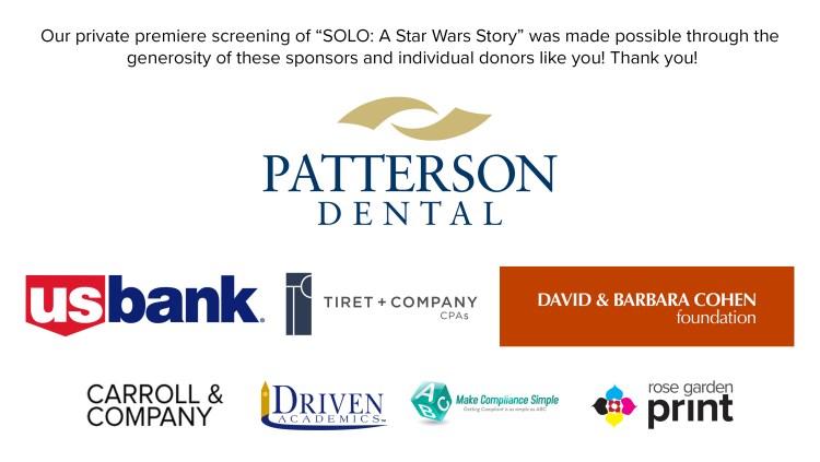 SCCDF Solo Premiere Sponsors