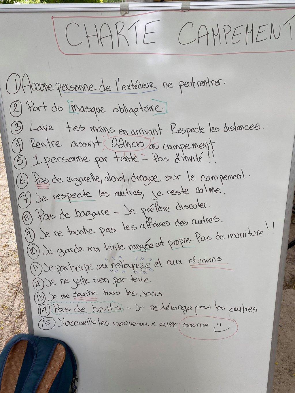 Les rgles de vie sont affiches dans le camp Crdit  InfoMigrants
