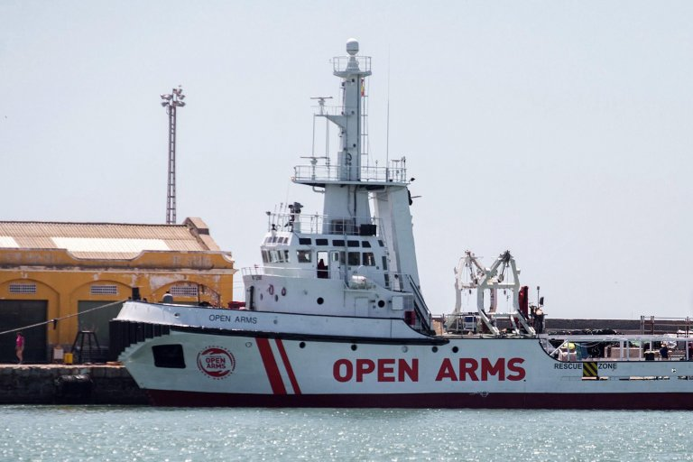 Spanish NGO 'Proactiva Open Arms' rescue ship docked at the port of Burriana in eastern Spain's Castellon province, 14 June 2018, prior to escorting SOS Mediterranee's 'Aquarius', on its way to Valencia carrying 630 migrants rescued off Libya. EPA/DOMENECH CASTELLO