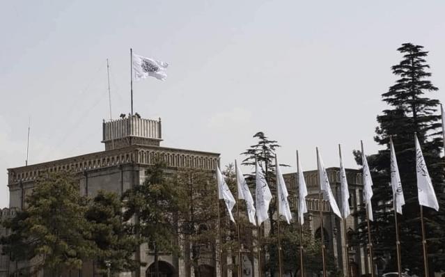 美國9/11事件20周年紀念日塔利班在總統府升起白旗