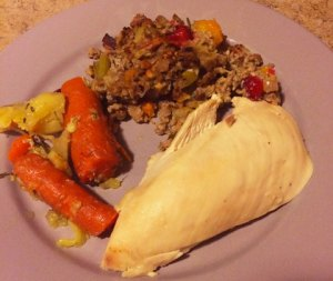 Paleo SCD Stuffing with Roasted Chicken and Vegetables