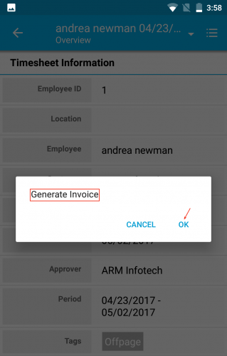 MOBILE RELEASE UPDATE FOR August 01  2018   APPTIVO ANDROID APP     timesheet generate invoice popup