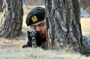 A South Korean soldier takes a position