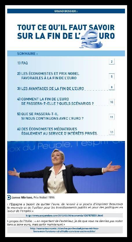 Scenari Economici anche nel programma del FN di Marine Le Pen:  Mirrleess l'Euro non funziona ed all'Italia conviene uscire subito