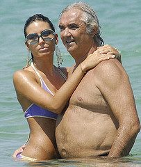 Flavio Briatore and wife Elisabetta Gregoraci, Port Beach of Marinella, Sardinia, Italy  - 28 Jul 2008