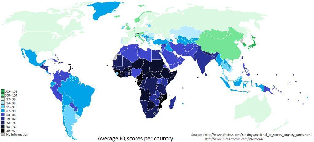 IQ Mappa del Quoziente di Intelligenza nel Mondo