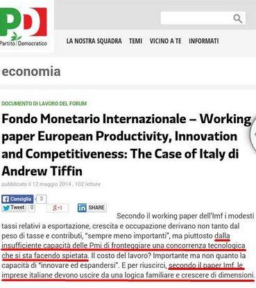 FMI AMMETTE: L'EURO HA FATTO COLLASSARE LA PRODUTTIVITA' DELL'INDUSTRIA ITALIANA PARTE SECONDA
