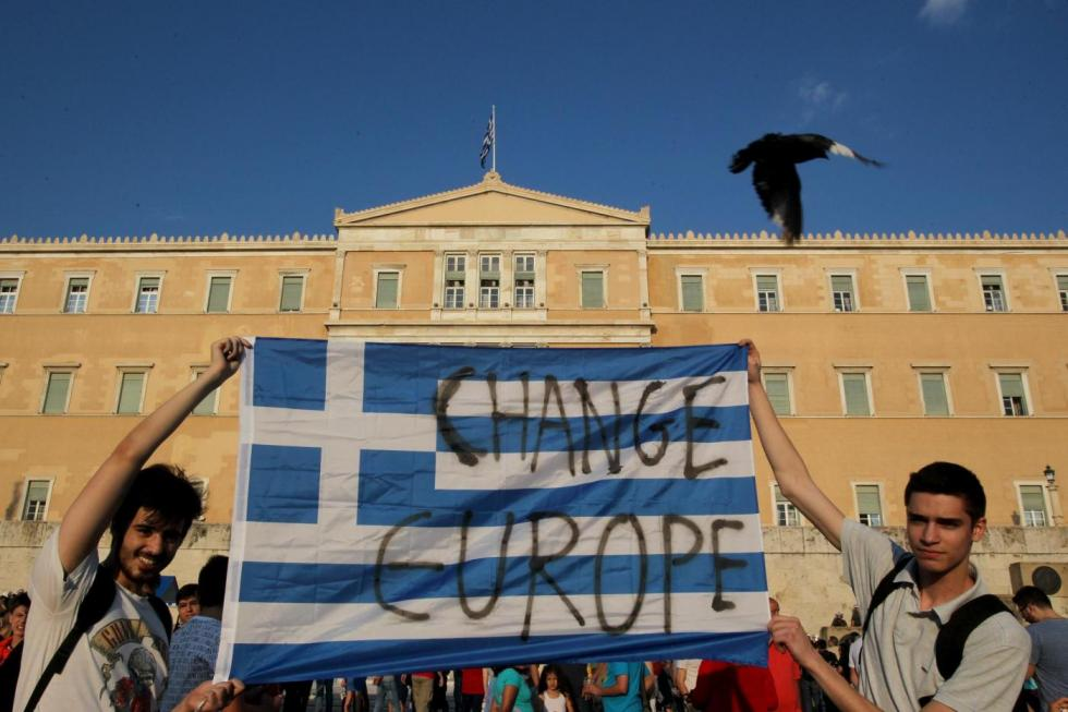 "(150629) -- ATHENS, June 29, 2015 (Xinhua) -- Thousands of Greeks participate in a rally called by governing Syriza party to protest against austerity measures and urge voters to say ""No"" in the July 5 referendum on bailout terms in Athens, Greece, on June 29, 2015. Breakdown in negotiations between Athens and its international creditors plunged the country deep into crisis. Greek government announced capital controls until July 6, while banks and Athens Stock Exchange remain shut. (Xinhua/Marios Lolos)"