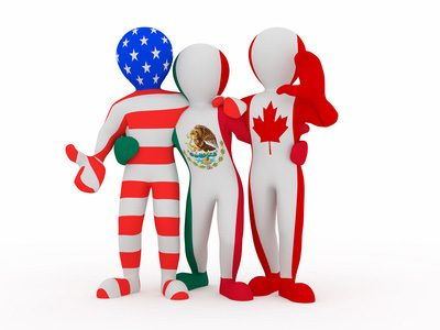 NAFTA. People in color of national flag of Canada, Mexico, USA. 3d