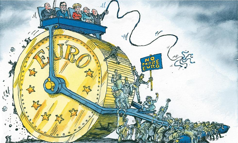 Cartoon by David Simonds. Angela Merkel's hard line on debt threatens the euro project.