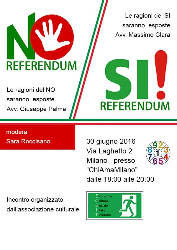 Milano, giovedì 30 giugno. L'avvocato Giuseppe PALMA espone le ragioni del NO al referendum costituzionale