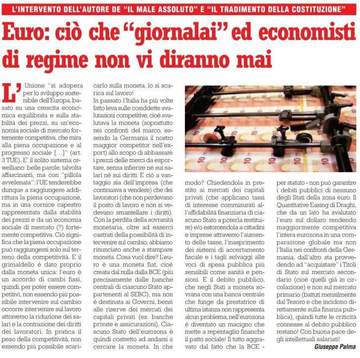 L'€uro spiegato da Giuseppe PALMA in appena 2.999 battute (su Il Giornale d'Italia)