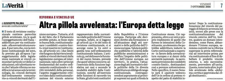 """Riforma costituzionale: la """"pillola avvelenata"""" del vincolo esterno dell'UE (articolo di Giuseppe PALMA su """"La Verità"""")"""