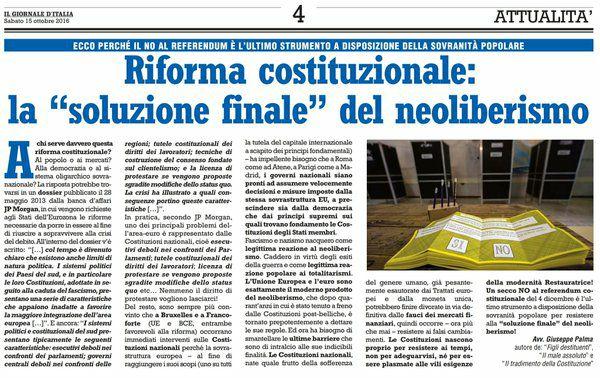 """RIFORMA COSTITUZIONALE: LA """"SOLUZIONE FINALE"""" DEL NEOLIBERISMO (articolo di Giuseppe PALMA pubblicato su Il Giornale d'Italia)"""