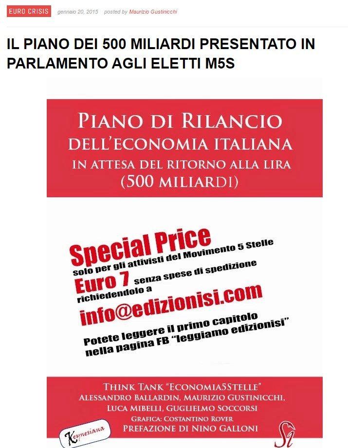 """ALLE RADICI DEL PIANO """"B"""" DI SCENARIECONOMICI (2015) E DI ALTERNATIVA PER L'ITALIA (AD USUM DELPHINI)"""