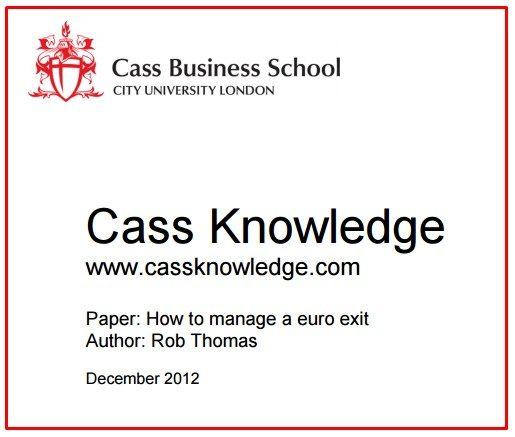 EUROEXIT: anche le Business Schools anglosassoni hanno compreso l'inganno tedesco