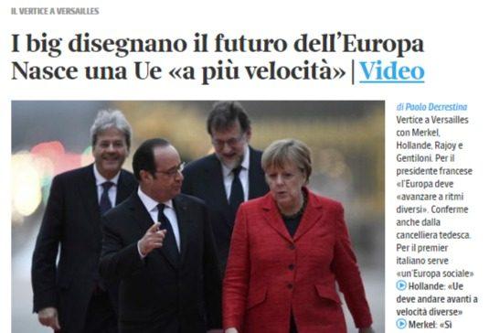 La fregatura (attesa) nella proposta franco-tedesca di doppia velocità/moneta, solo per avere più tempo per mandare la troika in Italia