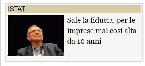 ISTAT: SALE LA FIDUCIA DELLE IMPRESE (guarda dove guarda PierPiero)