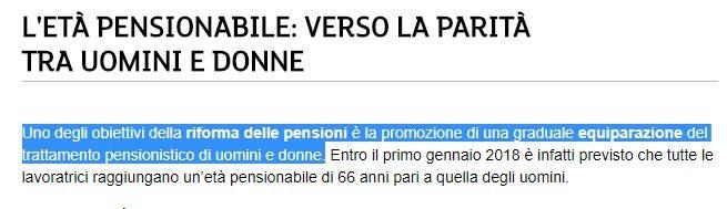 Uguaglianza tra uomini e donne: la sinistra al governo finalmente impone la pensione alla stessa età, segno di civiltà (la vuole l'EU). In Italia donne in pensione a 70 anni