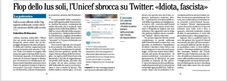 Il Mattino. Flop Ius soli, l'Unicef sbrocca su Twitter: 'Idiota, fascista' Le offese sui social a chi è contro la legge per la cittadinanza ai bambini stranieri (OFCS)