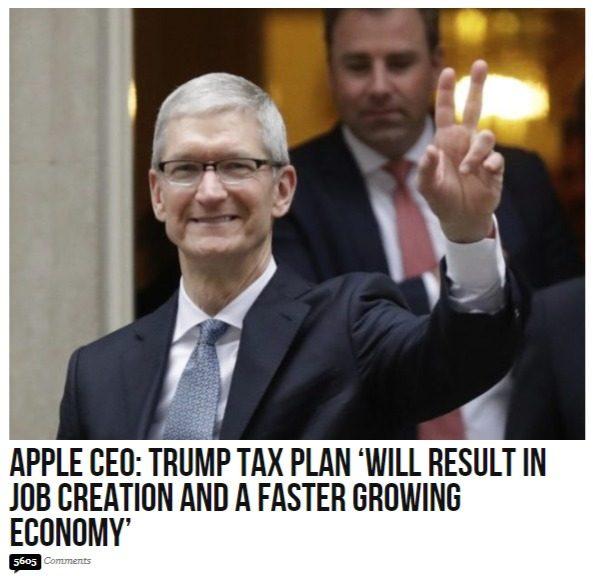 Bye bye Obama: l'AD filo Dem di Apple conferma che le riforme di Trump porteranno crescita e lavoro in USA. Nel mentre la CNN prevede la morte del Presidente per attacco cardiaco…