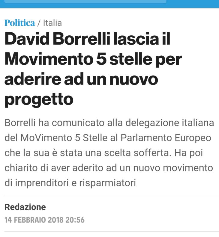 DAVID BORRELLI SE NE VA. IL DOPPIO TRADIMENTO AL M5S
