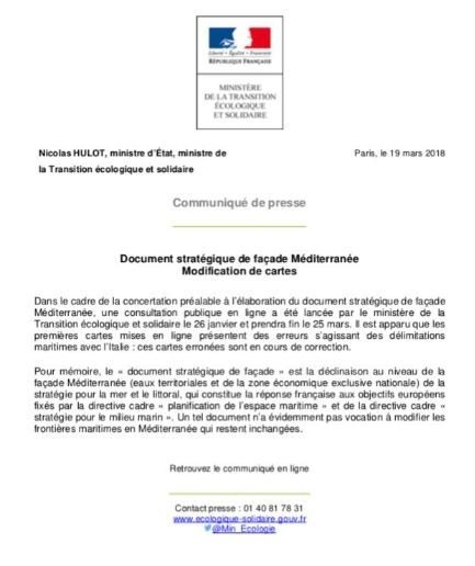 RITIRATA FRANCESE SULL'ACQUISIZIONE DEL MARE!!  Quando una mobilitazione raggiunge i risultati.