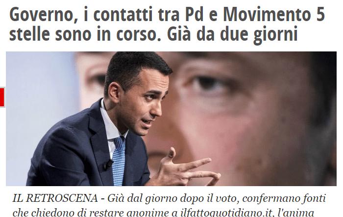RENZI LASCIA DI CORSA: STRADA LIBERA  AL GOVERNO M5S E PD.