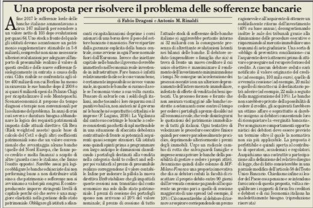 UNA SOLUZIONE CONCRETA PER LE SOFFERENZE BANCARIE di A.M. Rinaldi e F. Dragoni.