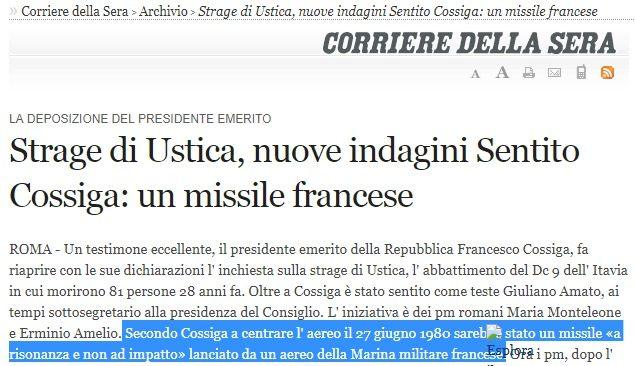"""Quando su Ustica il presidente Cossiga diceva """"fu un missile francese"""". Precisamente la stessa versione del giudice Priore nel suo libro…. Oggi Macron vuole """"finire"""" l'Italia?"""