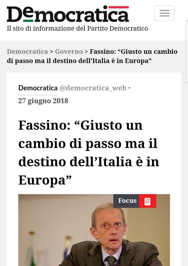 È LA FINE DI UE ED EURO: FASSINO HA PARLATO