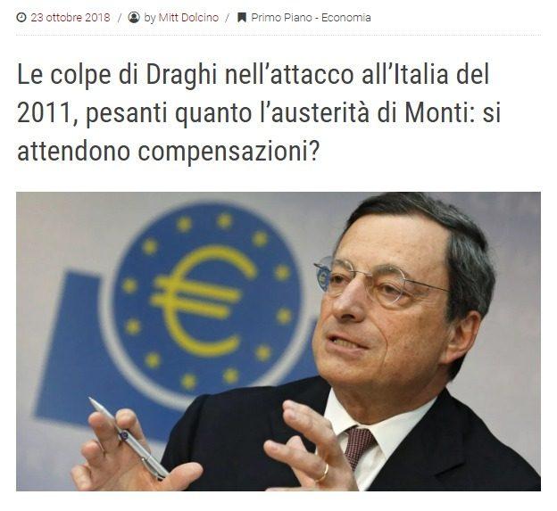 Le colpe di Draghi nell'attacco all'Italia del 2011, pesanti quanto l'austerità di Monti: si attendono compensazioni? (qelsi.it)