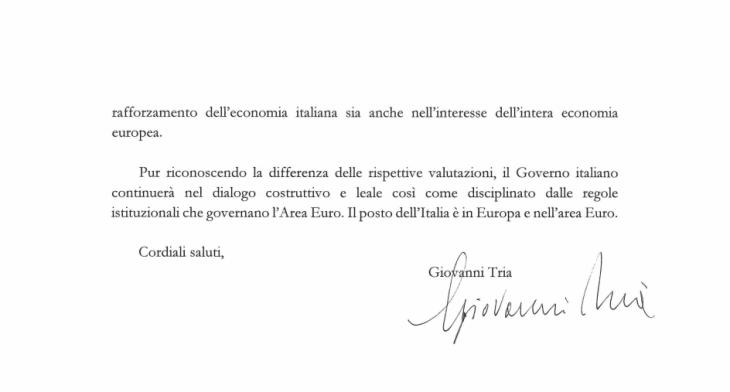 La lettera originale del Ministro Tria e del Governo alla Commissione Europea
