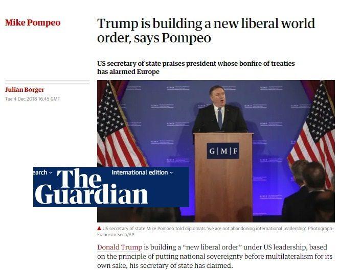 Dopo aver seppellito G.H.W. Bush, Pompeo vola in Germania e dichiara che dal prossimo anno gli USA sosterranno globalmente un nuovo fronte liberista alternativo!
