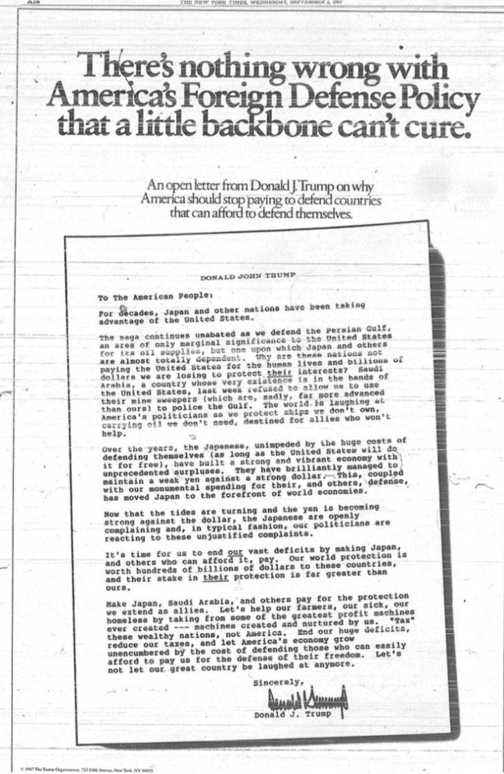 """Clamoroso: la strategia """"America First"""" di Trump era già stata delineata pubblicamente 30 anni fa! Ossia, il Presidente è in buona fede"""