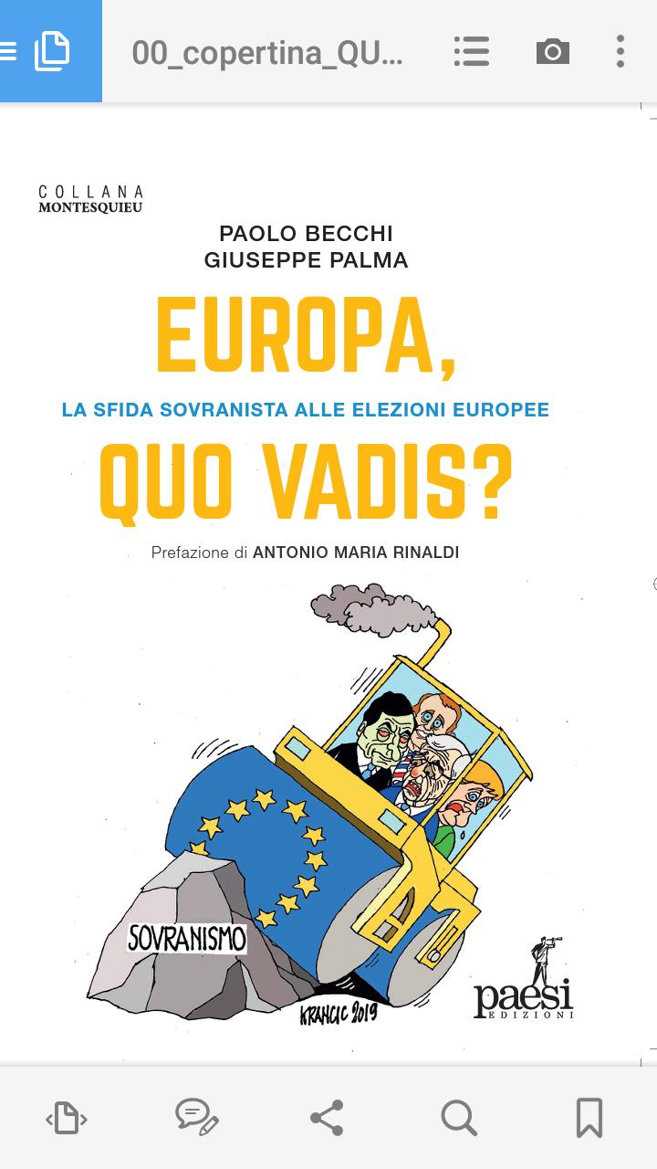 """Esce oggi """"EUROPA, QUO VADIS? La sfida sovranista alle elezioni europee"""", il nuovo libro di P. Becchi e G. Palma, con prefazione di A.M. Rinaldi"""
