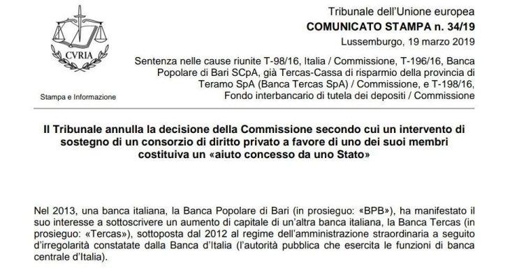CASO 4 BANCHE FALLITE: TEMPO DI AZIONE LEGALE CONTRO LA COMMISSIONE DA PARTE DI AZIONISTI E RISPARMIATORI