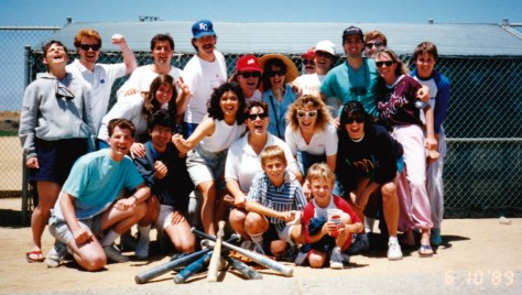 Our first coed softball team (and fans) — Me, Bob, John, Marie, Rodney, Shawn, Pam, Maria, Janie, Greg, Pierre and others